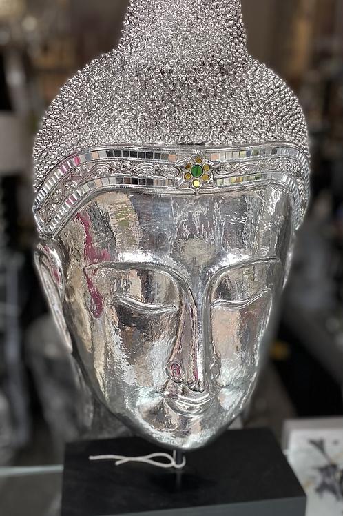 Silver Buddha Head on Stand