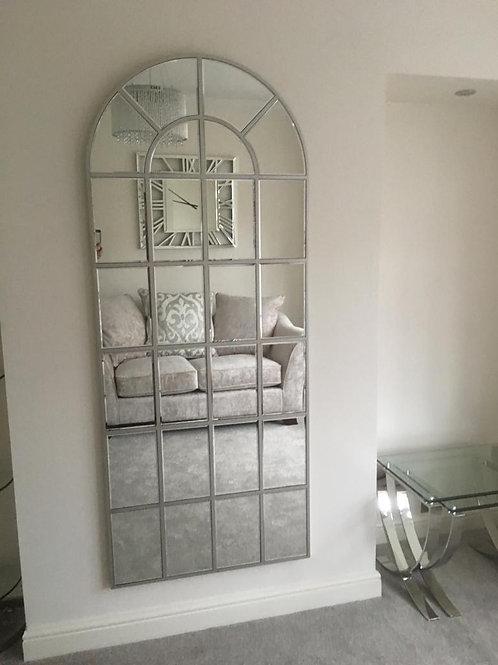 Tall Arch Window Effect Silver Wall Mirror