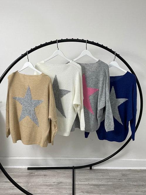 Soft Knit V Neck Jumper with Star on Back