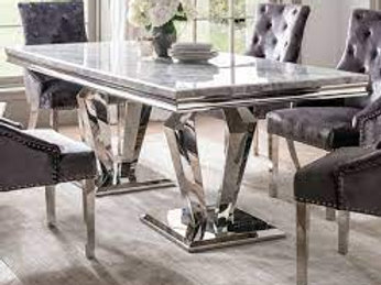 Arturo Marble Stainless Steel Table