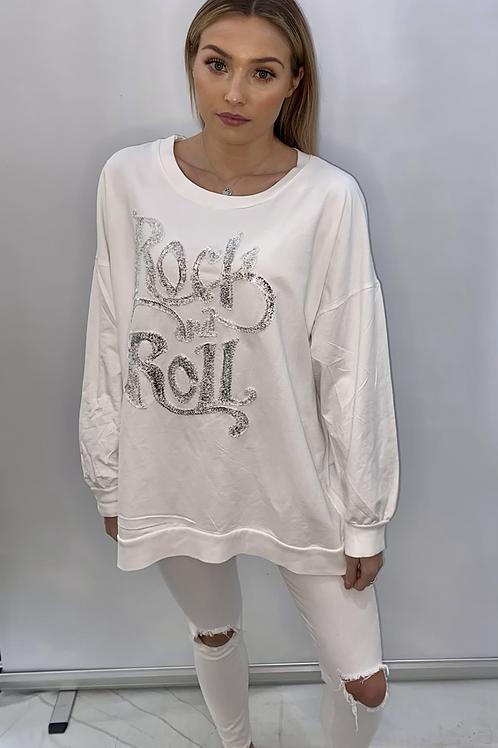 White Rock & Roll sparkle sweatshirt