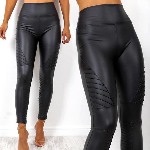 Wet Look Leggings with side detailingBlack