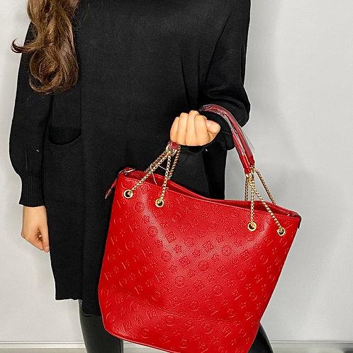 Red designer inspired bag