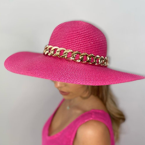 Cerise Pink Fedora Summer Hat with Gold Chain - One size adjustable