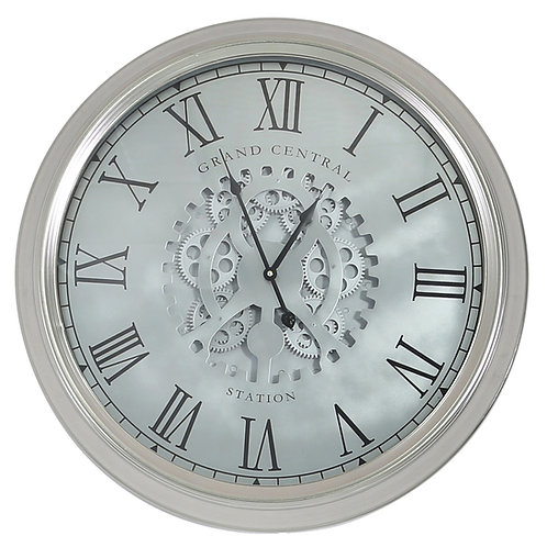 Grand Central Silver Gears Wall Clock - 54.5 cm
