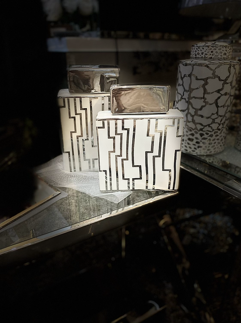 White and Silver Print Aztec Oblong Ginger Jars - 2 sizes 24 cm and 21.5cm