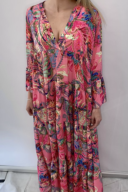 Pink Palm Print V Neck Maxi Dress