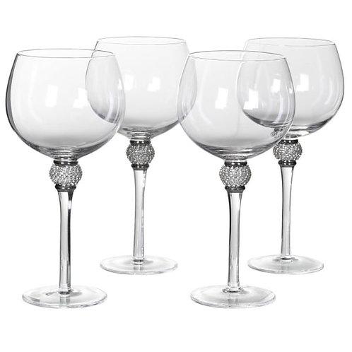 Set of 4 Silver Diamante Ball Gin / Wine Glasses