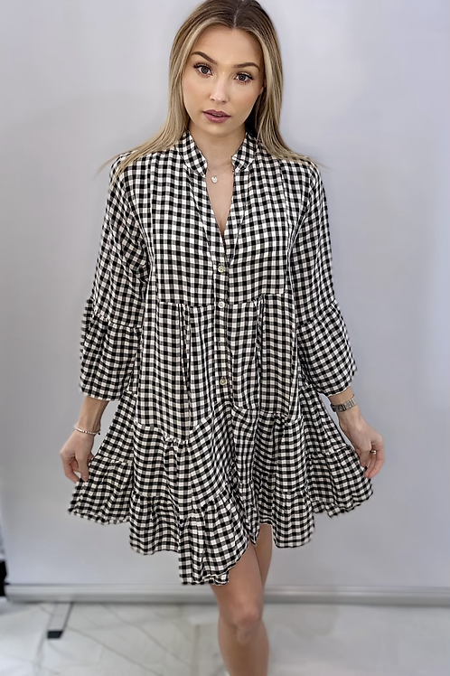 Black and White check  Swing Dress