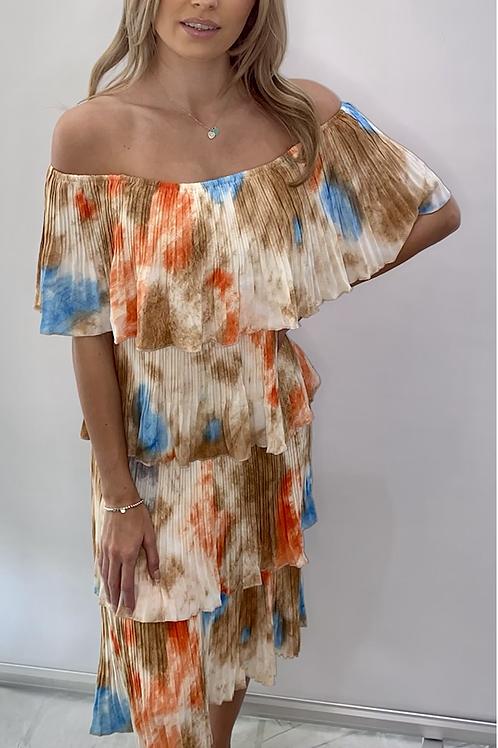 Multi Colour Off the Shoulder Tier Dress