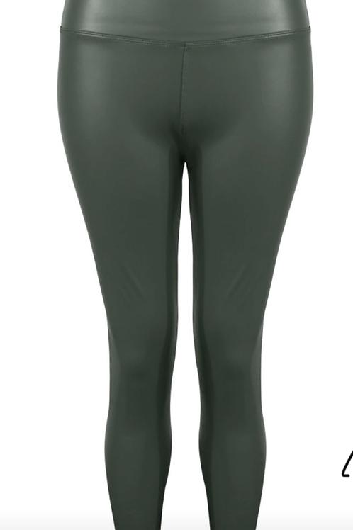 Khaki high waisted wet look leggings