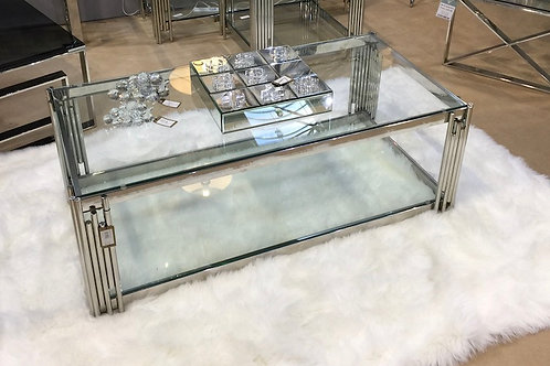 Chic Glass and Chrome Coffee Table