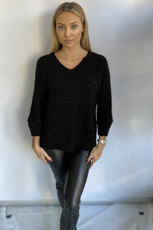 Black Knit Jumper with star detail