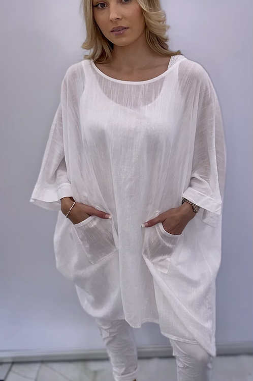 White Oversized Pocket  Top