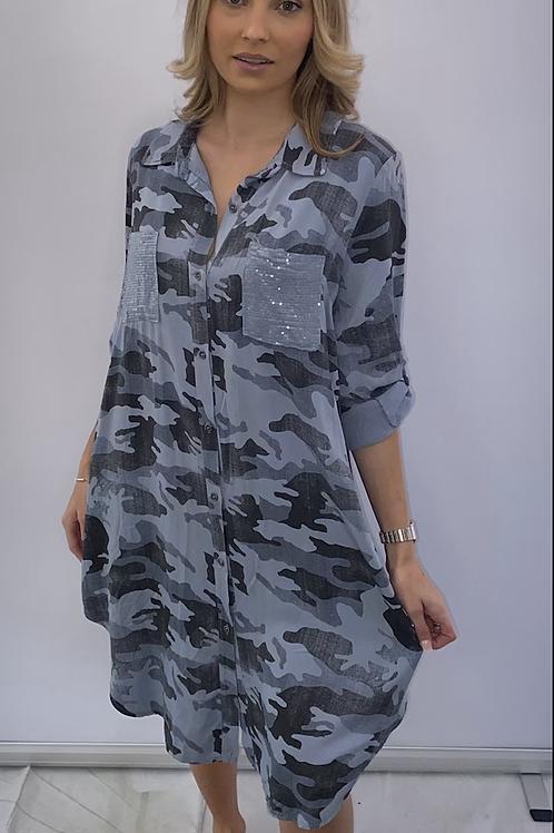 Blue Sequin Pocket Camouflage print dress