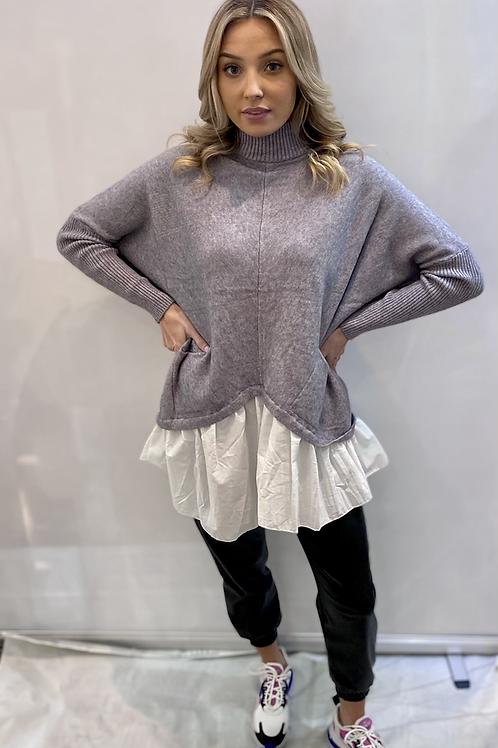 Super soft grey jumper with white shirt look