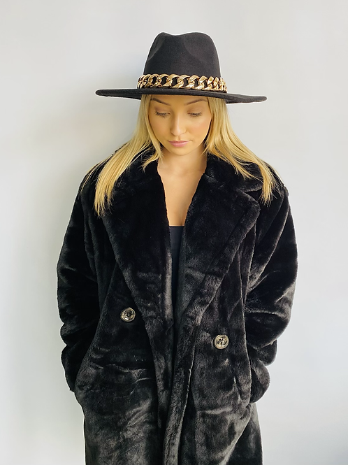 Black Fedora Hat with Gold Chain - One size