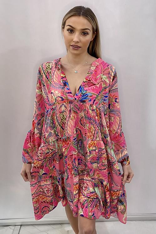 Palm Multi colour Print Swing Dress