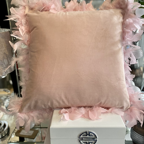 Pink Velvet Cushion with Feather Trim - 45 cm