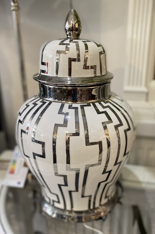 White and Silver Aztec Ginger Jars - 2 sizes 40 cm and 30cm