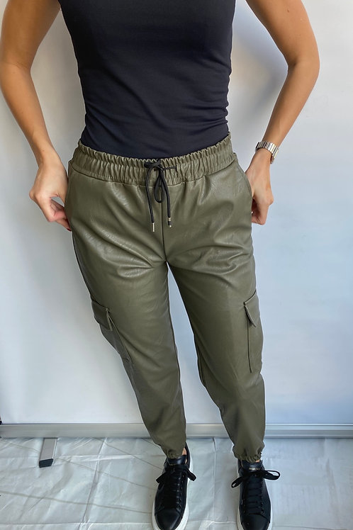 Khaki Leather Look Jogger Trousers with Pocket detail