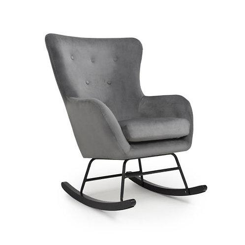 Brushed Velvet Grey Rocking Chair