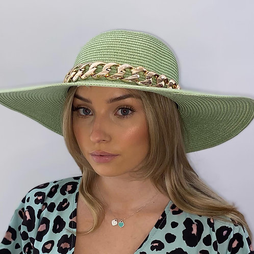 Pale Green Fedora Summer Hat with Gold Chain - One size adjustable