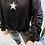 Thumbnail: Black Sparkle star rouched sleeve sweatshirt
