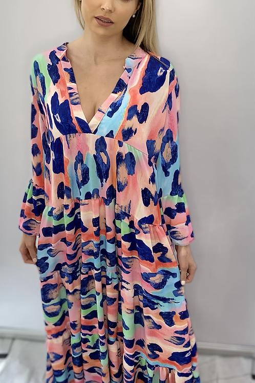 Multi Colour Animal Print V Neck Maxi Dress
