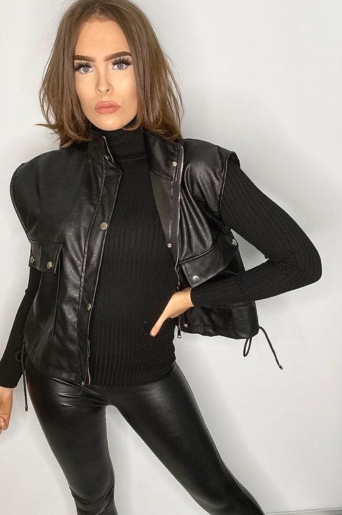 Faux leather black modern Gilet