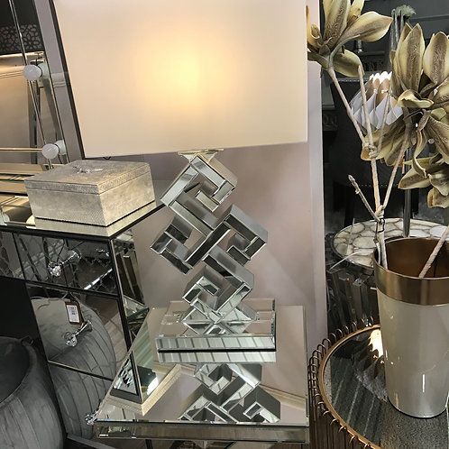 Marigold Mirrored Table Lamp With white Shade