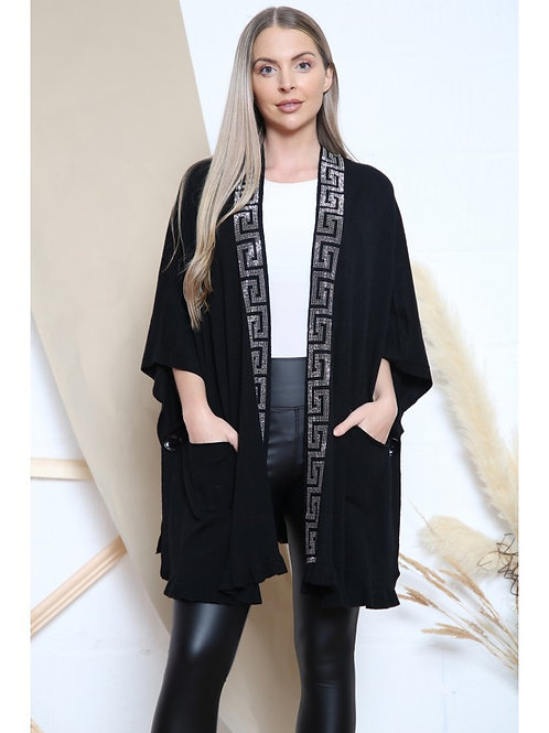Designer Inspired Luxury Cardigan with Bling Trim Detail