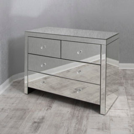 Clear Mirrored 4  Drawer Chest