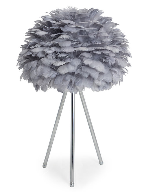 Glamour Feather Grey Tripod Table  Lamp