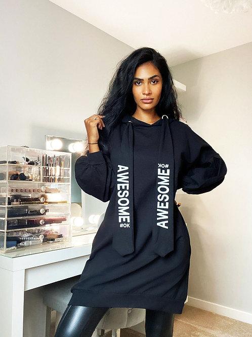 Black Oversize Awesome Jersey Sweatshirt Dress - One Size