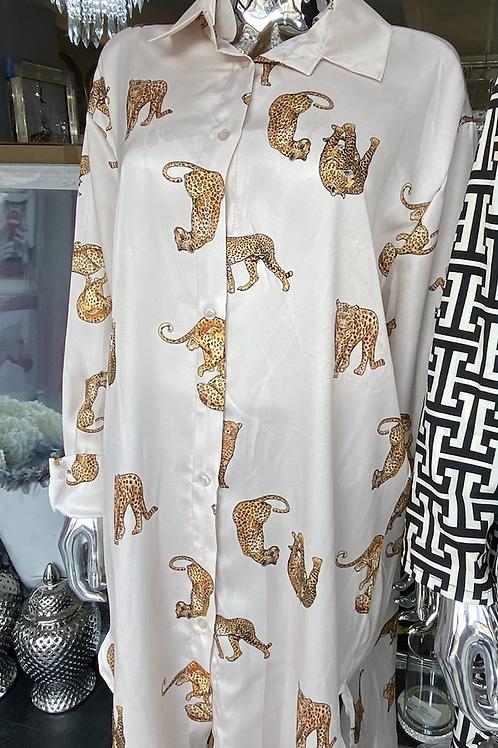 Designer Inspired Leopard Print Shirt Dress