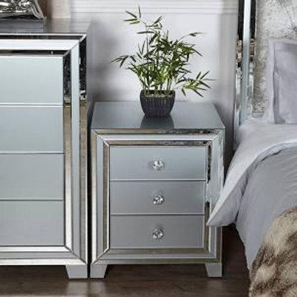 Grey New York Mirror 3 Drawer Bedside