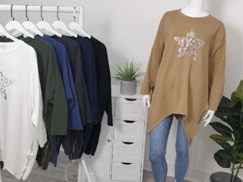 Oversized Star Detail Sweatshirts with Zip Detail - 4 Colours