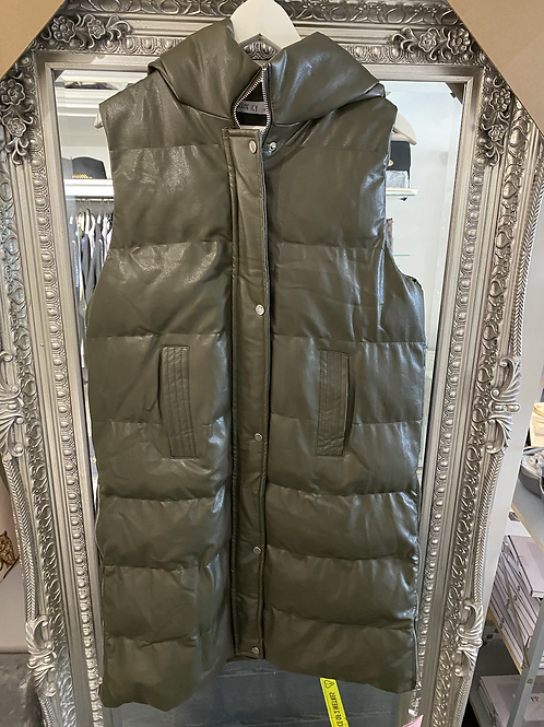 Khaki Faux Leather Hooded Gilet