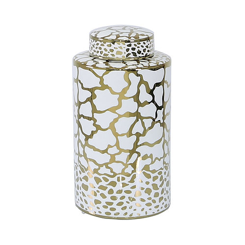 White and Gold Print Ginger Jars - 2 sizes 30 cm and 20.6cm