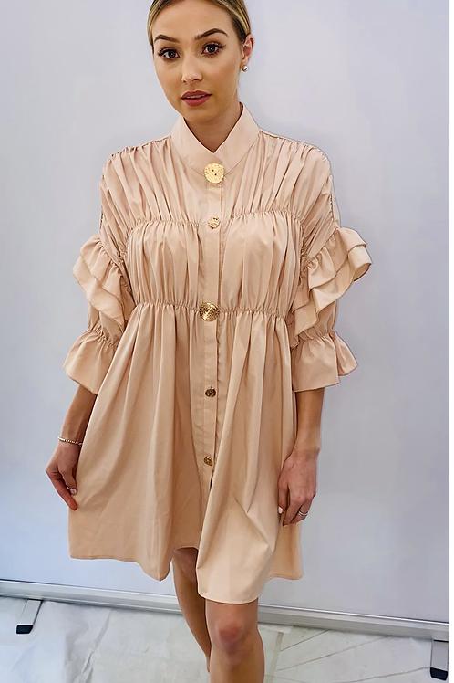 Ruffle Sleeve Shirt Dress /Top Beige