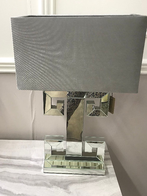 Bluebell Mirrored Table Lamp With Grey Shade