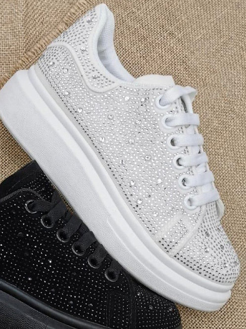 Sparkly diamante white trainers