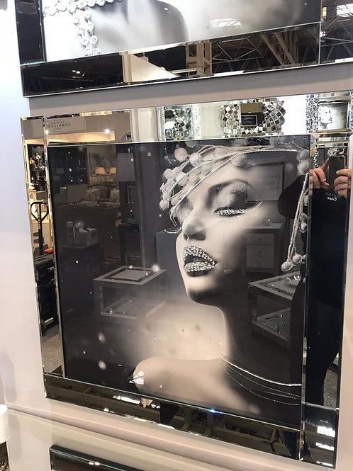 Glamorous Lady Liquid Art with Mirrored Frame