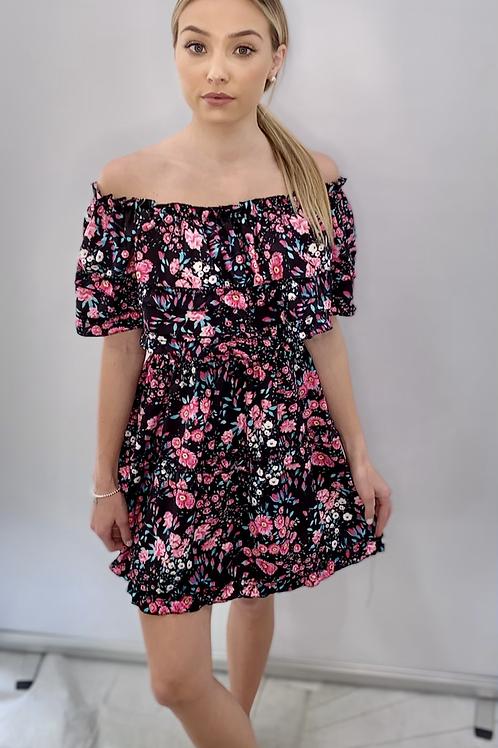 Black Off the Shoulder Ruffle Dress