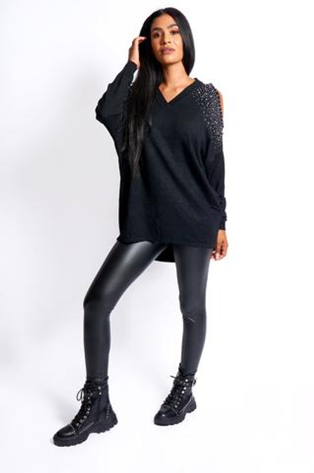 Over size cold shoulder diamanté detail jumper - Black, Navy, Beige, Khaki, Grey