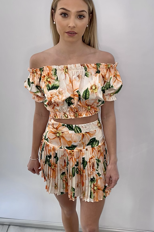 Two Piece Frill Skirt with Off Shoulder Top Orange