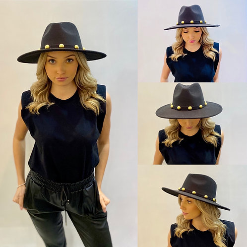 Black Fedora Hat with Gold Balls - One size