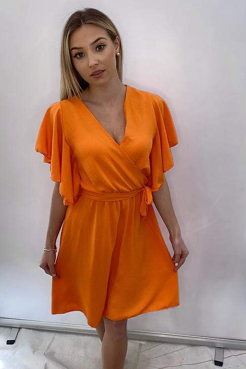 Orange Wrap Over Style Dress Midi