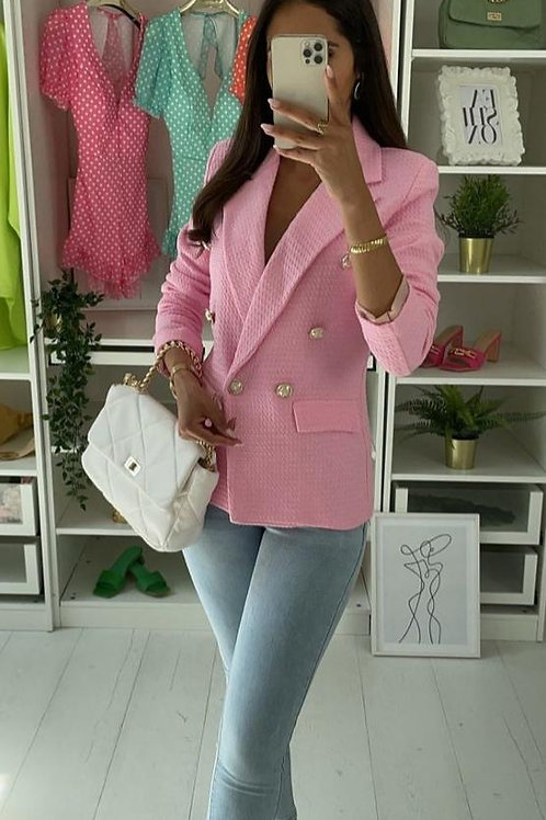 Fitted Blazer Zara Style - Beige, Pink and Pale Blue
